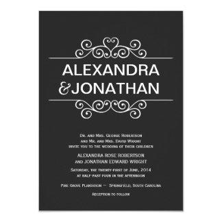 Invitaciones rústicas blancos y negros del boda invitación 11,4 x 15,8 cm