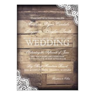 Invitaciones rústicas de madera y del boda del