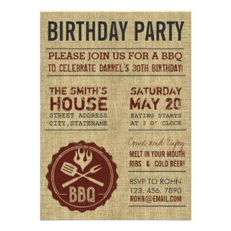 Invitaciones rústicas del Bbq de la fiesta de cump