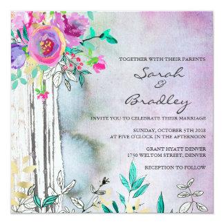 Invitaciones rústicas del boda de la acuarela del