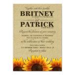 Invitaciones rústicas del boda de la arpillera del invitaciones personalizada