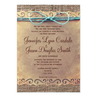 Invitaciones rústicas del boda de la arpillera del invitación 11,4 x 15,8 cm