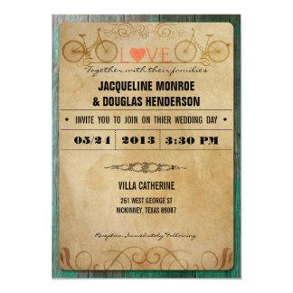 Invitaciones rústicas del boda de la bicicleta del invitación 12,7 x 17,8 cm