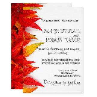 Invitaciones rústicas del boda de la caída de las invitación 8,9 x 12,7 cm