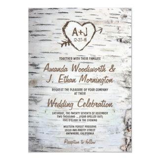 Invitaciones rústicas del boda de la corteza de invitación 12,7 x 17,8 cm