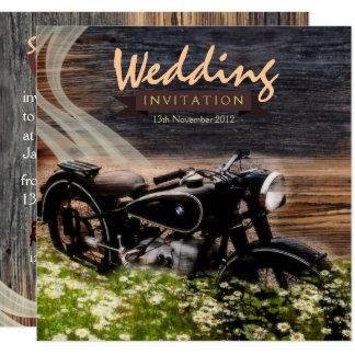 Invitaciones rústicas del boda de la moto del