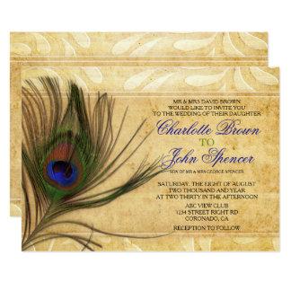 Invitaciones rústicas del boda de la pluma del invitación 12,7 x 17,8 cm