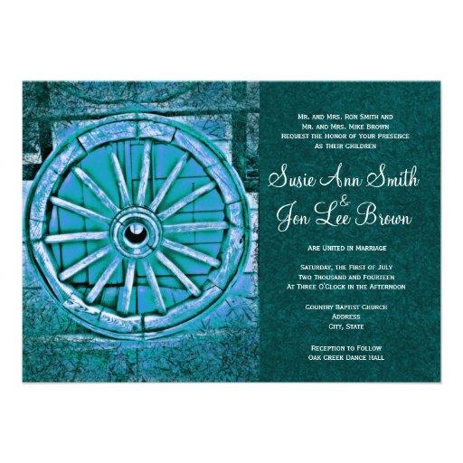 Invitaciones rústicas del boda de la rueda de carr anuncios personalizados