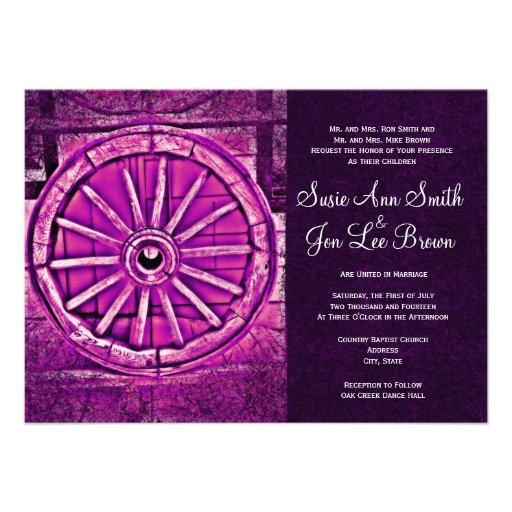 Invitaciones rústicas del boda de la rueda de carr invitaciones personales