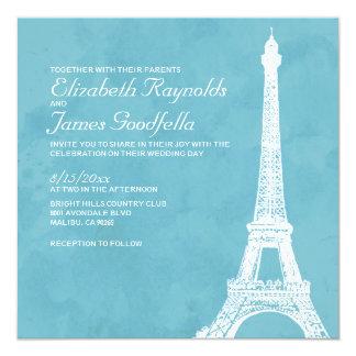 Invitaciones rústicas del boda de la torre Eiffel Invitación 13,3 Cm X 13,3cm