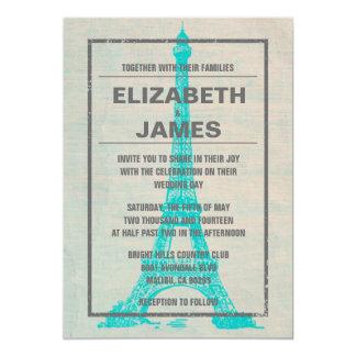 Invitaciones rústicas del boda de París Invitación 12,7 X 17,8 Cm