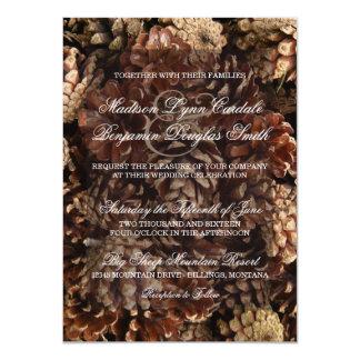 Invitaciones rústicas del boda del cono del pino invitación 11,4 x 15,8 cm