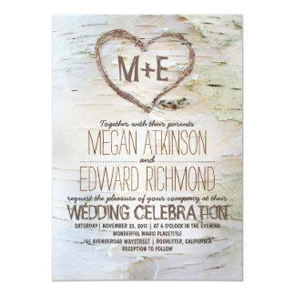 Invitaciones rústicas del boda del corazón del invitación 12,7 x 17,8 cm