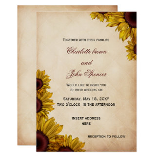 Invitaciones rústicas del boda del girasol