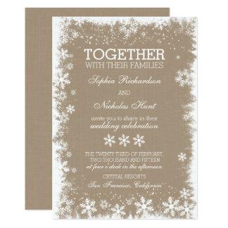 Invitaciones rústicas del boda del invierno de los