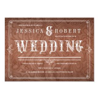 Invitaciones rústicas del boda del país de madera invitación 12,7 x 17,8 cm