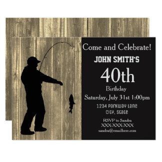 Invitaciones rústicas del cumpleaños de la pesca invitación 12,7 x 17,8 cm