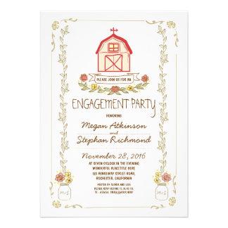 Invitaciones rústicas del fiesta de compromiso del