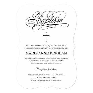 Invitaciones santas blancos y negros elegantes del invitación 12,7 x 17,8 cm