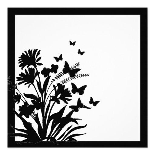 Invitaciones simples de la mariposa floral blanca  comunicados personales