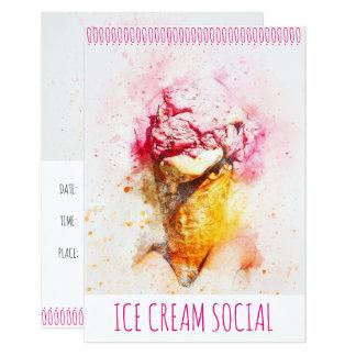 Invitaciones sociales del fiesta del helado