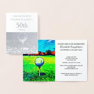 Invitaciones temáticas Golfing del cumpleaños del