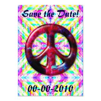 Invitaciones Trippy del signo de la paz de la Comunicados