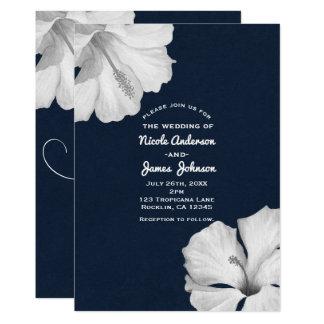 Invitaciones tropicales azules del boda del invitación 12,7 x 17,8 cm