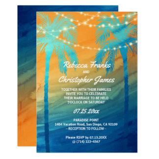Tarjeta Invitaciones tropicales azules del boda del trullo