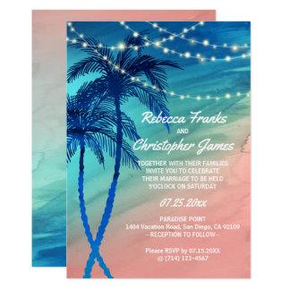 Tarjeta Invitaciones tropicales del boda del azul y del