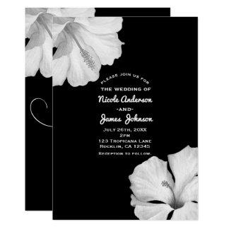 Invitaciones tropicales del boda del negro blanco invitación 12,7 x 17,8 cm