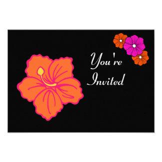 Invitaciones tropicales hawaianas de Luau de la fl Invitación