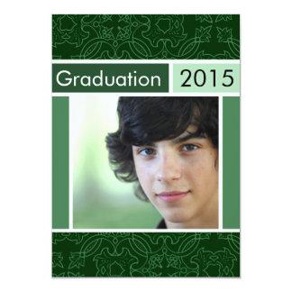 Invitaciones verdes de la graduación del fiesta de invitación 12,7 x 17,8 cm
