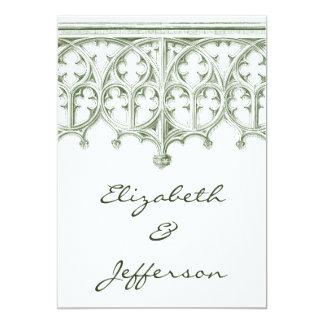 Invitaciones verdes del boda de la catedral del invitación 12,7 x 17,8 cm
