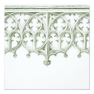 Invitaciones verdes del boda de la catedral del invitación 13,3 cm x 13,3cm
