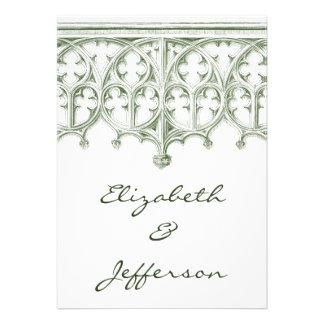 Invitaciones verdes del boda de la catedral del ve