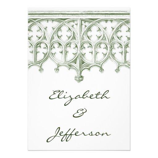 Invitaciones verdes del boda de la catedral del ve invitación