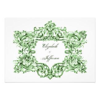 Invitaciones verdes del boda del marco del vintage comunicado personalizado