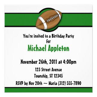 Invitaciones verdes del cumpleaños del fútbol comunicado personal