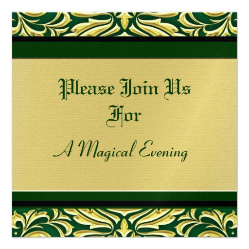 Invitaciones verdes del día de fiesta del metal de invitación personalizada