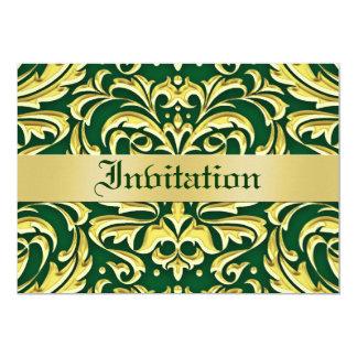 Invitaciones verdes del día de fiesta del metal invitación 12,7 x 17,8 cm