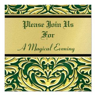 Invitaciones verdes del día de fiesta del metal invitación 13,3 cm x 13,3cm
