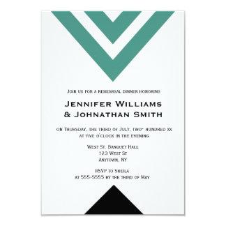 Invitaciones verdes modernas de la cena del ensayo