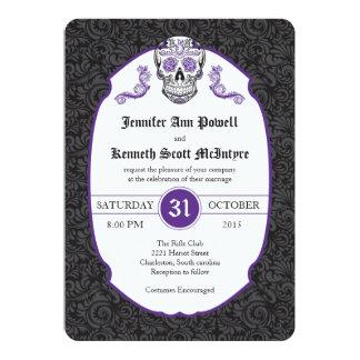 Invitaciones violetas del boda del damasco del invitación 12,7 x 17,8 cm