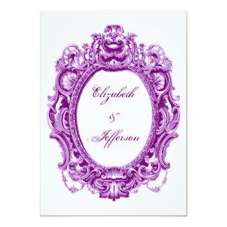 Invitaciones violetas del boda del marco del anuncio