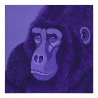 Invitaciones violetas del gorila invitación 13,3 cm x 13,3cm