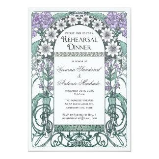 Invitaciones violetas esmeralda de la cena del invitación 12,7 x 17,8 cm