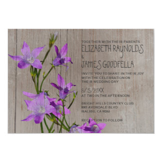 Invitaciones violetas rústicas del boda invitación 12,7 x 17,8 cm