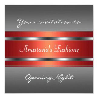 Invite a la plata roja gris de la noche de la invitación 13,3 cm x 13,3cm