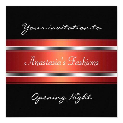 Invite a la plata roja negra de la noche de la ina invitacion personalizada